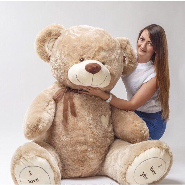 Купить большого плюшевого медведя Тюмень 180см бежевый