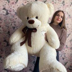 Купить большого плюшевого медведя 150см в Тюмени молочного цвета за 3090₽. Доставка. Самовывоз.