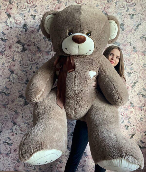 Купить большого плюшевого медведя Тюмень 180см 4390₽ шоколадного цвета. Доставка. Самовывоз.